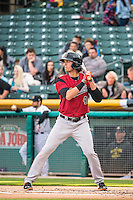 Jarrett Parker (49) of the Sacramento River Cats at bat against the Salt Lake Bees in Pacific Coast League action at Smith's Ballpark on April 17, 2015 in Salt Lake City, Utah.  (Stephen Smith/Four Seam Images)