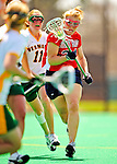 25 April 2009: Stony Brook University Seawolves' defenseman Jenna Spenard, a Senior from Cicero, NY, in action against the University of Vermont Catamounts at Moulton Winder Field in Burlington, Vermont. The Lady Cats defeated the visiting Seawolves 19-11 in Vermont's last home game of the 2009 season. Mandatory Photo Credit: Ed Wolfstein Photo