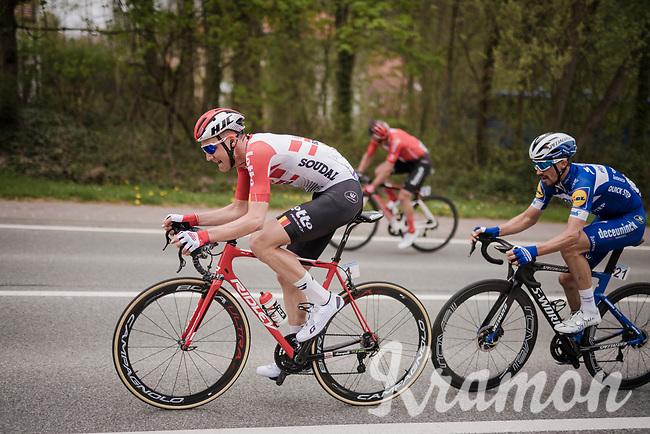 the final breakaway group in the race finale consists of these (most) elite puncheurs : Tim Wellens (BEL/Lotto-Soudal), Mathieu Van Der Poel (NED/Correndon-Circus), Michael Matthews (AUS/Sunweb) & Julian ALAPHILIPPE (FRA/Deceuninck-Quick Step)<br /> <br /> 59th De Brabantse Pijl - La Flèche Brabançonne 2019 (1.HC)<br /> One day race from Leuven to Overijse (BEL/196km)<br /> <br /> ©kramon