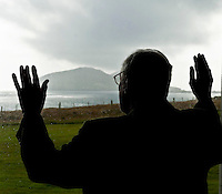 Dark grey clouds linger long and low as Micheal Kearney, the oldest surving person born on the Blasket Islands off West Kerry has one more gaze through the mists of time as he reminisces emigrating in 1937.  Micheal hope to make a return journey to the island in June.<br /> Picture by Don MacMonagle<br /> Story by Majella O'Sullivan