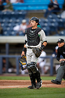 Clinton LumberKings catcher Ryan Scott (29) during a game against the West Michigan Whitecaps on May 3, 2017 at Fifth Third Ballpark in Comstock Park, Michigan.  West Michigan defeated Clinton 3-2.  (Mike Janes/Four Seam Images)