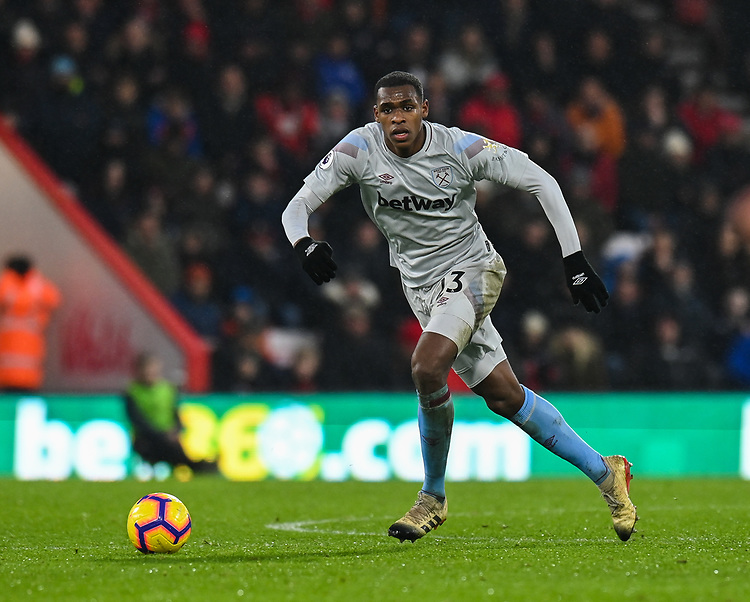 West Ham United's Issa Diop <br /> <br /> Photographer David Horton/CameraSport<br /> <br /> The Premier League - Bournemouth v West Ham United - Saturday 19 January 2019 - Vitality Stadium - Bournemouth<br /> <br /> World Copyright &copy; 2019 CameraSport. All rights reserved. 43 Linden Ave. Countesthorpe. Leicester. England. LE8 5PG - Tel: +44 (0) 116 277 4147 - admin@camerasport.com - www.camerasport.com