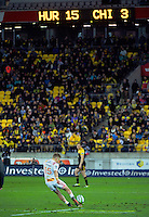 Damien McKenzie kicks for goal during the Super Rugby semifinal match between the Hurricanes and Chiefs at Westpac Stadium, Wellington, New Zealand on Saturday, 30 July 2016. Photo: Dave Lintott / lintottphoto.co.nz