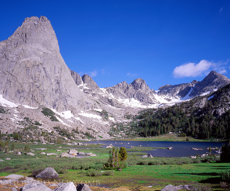 Pingora Peak stands tall over Lonesome Lake in the Circ of the Towers, Wyoming.