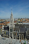 The Rathause, Marienplatz square and the  surrounding area  Munich,Bavaria, Germany.