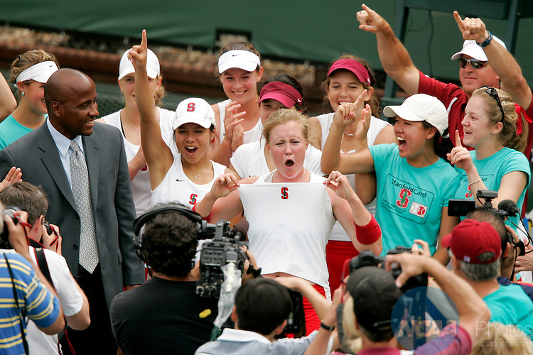 2006 MAY 23: The Stanford University Women's Tennis team celebrates after winning the team title at the Division I Women's Tennis Championship held at the Taube Tennis Center in Stanford, CA.  Theresa Logar (middle, white shirt) defeated Monika Dancevic of the University of Miami 6-0, 6-3 to clinch the team title for Stanford over the Hurricanes by a score of 4-1.  Trevor Brown, Jr./NCAA Photos