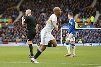 Andre Ayew celebrates scoring his sides second goal during the Barclays Premier League match between Everton and Swansea City played at Goodison Park, Liverpool. 1-2