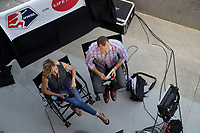 Cary, North Carolina  - Saturday June 03, 2017: Aly Wagner and Dalen Cuff on the Lifetime pregame set prior to a regular season National Women's Soccer League (NWSL) match between the North Carolina Courage and the FC Kansas City at Sahlen's Stadium at WakeMed Soccer Park. The Courage won the game 2-0.