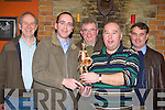 Members of the World Bodhran festival committee presents a schulture  to Eoin O'Shea in recognition of his hard work at their annual table quiz in Costello's bar Milltown on Friday night l-r: Ray Nolan, Eoin O'Shea, Liam Hurley, Dan Cronin, Tim Wrenn