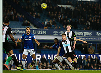 Everton's Moise Kean can't direct a chance goalward under pressure from Newcastle United's Matt Ritchie<br /> <br /> Photographer Alex Dodd/CameraSport<br /> <br /> The Premier League - Everton v Newcastle United  - Tuesday 21st January 2020 - Goodison Park - Liverpool<br /> <br /> World Copyright © 2020 CameraSport. All rights reserved. 43 Linden Ave. Countesthorpe. Leicester. England. LE8 5PG - Tel: +44 (0) 116 277 4147 - admin@camerasport.com - www.camerasport.com