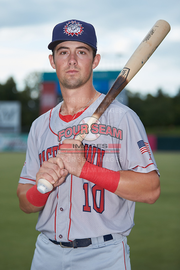 Hagerstown Suns shortstop Jackson Cluff (10) poses for a photo prior to the game against the Kannapolis Intimidators at Kannapolis Intimidators Stadium on August 26, 2019 in Kannapolis, North Carolina. The Suns defeated the Intimidators 4-1. (Brian Westerholt/Four Seam Images)