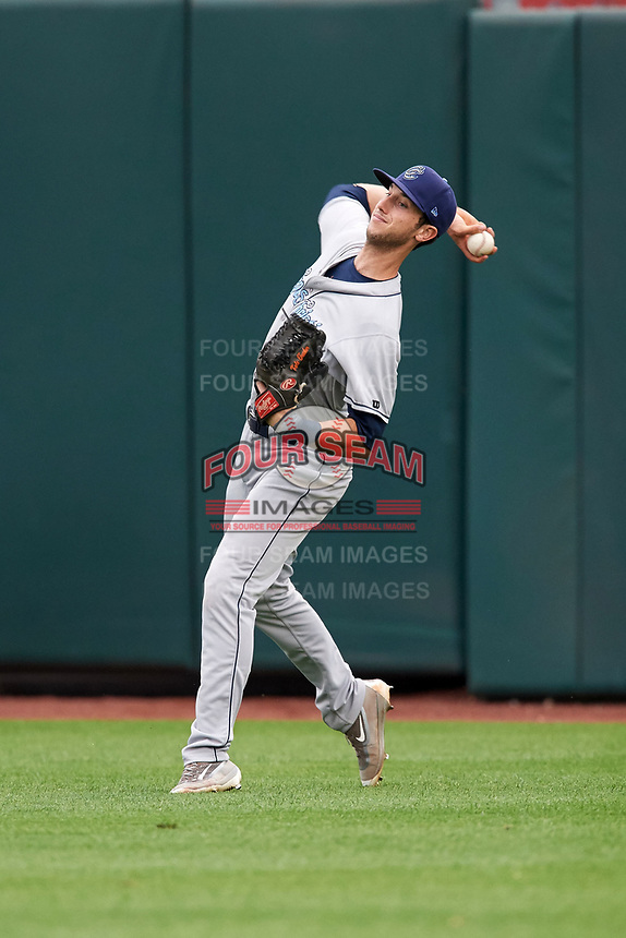 Corpus Christi Hooks right fielder Kyle Tucker (12) throws the ball in during a game against the Springfield Cardinals on May 31, 2017 at Hammons Field in Springfield, Missouri.  Springfield defeated Corpus Christi 5-4.  (Mike Janes/Four Seam Images)