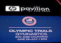 Olympic Trials Gymnastics is pictured on the TV screen during the 2012 US Olympic Trials competition at HP Pavilion in San Jose, California on June 28th, 2012.