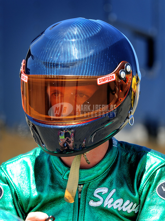 Jul. 17, 2010; Sonoma, CA, USA; NHRA pro stock motorcycle rider Shawn Gann during qualifying for the Fram Autolite Nationals at Infineon Raceway. Mandatory Credit: Mark J. Rebilas-