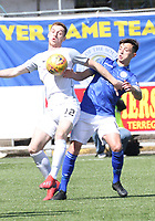 Ryan Harrington winning a challenge with Connor Murray in the SPFL Ladbrokes Championship Play Off semi final match between Queen of the South and Montrose at Palmerston Park, Dumfries on  11.5.19.