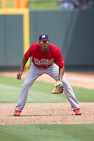 Memphis Redbirds first baseman Xavier Scruggs #16 on defense during the Pacific Coast League baseball game against the Round Rock Express on April 27, 2014 at the Dell Diamond in Round Rock, Texas. The Express defeated the Redbirds 6-2. (Andrew Woolley/Four Seam Images)