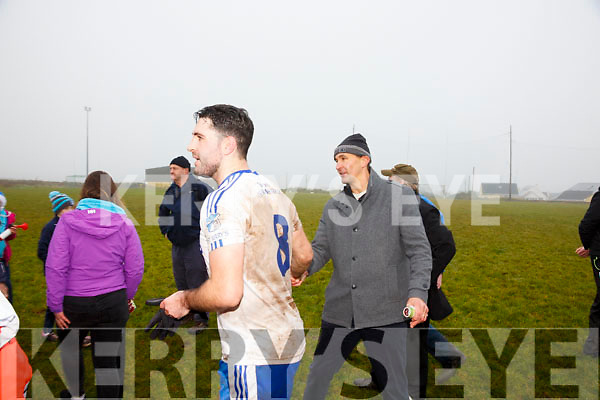 Maurice Fitzgerald congratulates Bryan Sheehan on winning the South Kerry Championship final on Sunday.