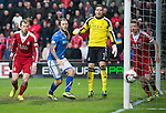 Aberdeen v St Johnstone....01.02.14   League Cup Semi-Final<br /> Stevie May fails to make contact with a Gary McDonald header and the ball goes just past the post<br /> Picture by Graeme Hart.<br /> Copyright Perthshire Picture Agency<br /> Tel: 01738 623350  Mobile: 07990 594431