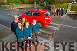 Liam Fell Principal of the Nagle/Rice primary school in Milltown who are appealing for a Zebra crossing outside their school front l-rL: Kayleigh Roche, Liam Fell, Nisha Ahern, Abbi Flynn, Conor Spillane. Back l-r: Laura Griffin, Annie Hayes, Kayla Griffin, Marc Clifford