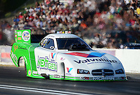 May 18, 2012; Topeka, KS, USA: NHRA funny car driver Jack Beckman during qualifying for the Summer Nationals at Heartland Park Topeka. Mandatory Credit: Mark J. Rebilas-