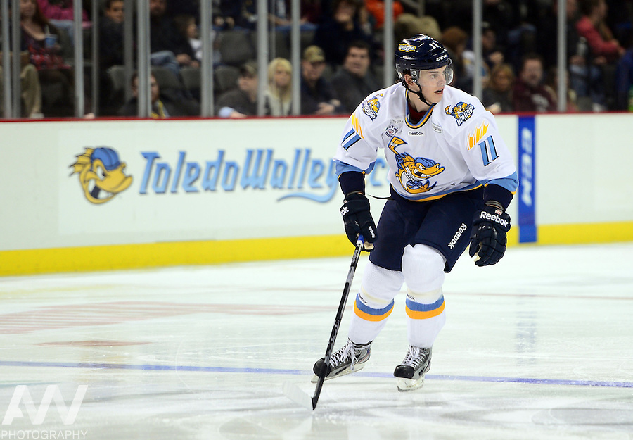 Oct 19, 2012; Toledo, OH, USA; Toledo Walleye left wing Andrej Nestrasil (11) against the Cincinnati Cyclones at Huntington Center: Mandatory Credit: Andrew Weber