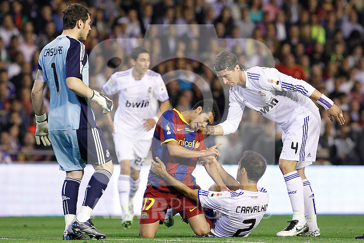 FC Barcelona's Pedro Rodriguez (c) and Real Madrid's Iker Casillas, Ricardo Carvalho and Sergio Ramos have words during King's Cup 2001 Final match.April 20,2011. (ALTERPHOTOS/Acero)