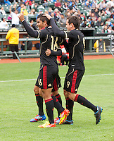 San Francisco, California - Saturday March 17, 2012: Miguel Ponce celebrates after his 2nd Penalty Kick during the Mexico vs Senegal U23 in final Olympic qualifying tuneup. Mexico defeated Senegal 2-1