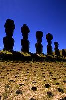 Moai Statues at Ahu Nau Nau Platform in Easter Island during Tapati Festival Rapa Nui