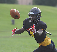 Archbishop Wood's Nasir Peoples intercepts a ball during football practice Thursday, August 10, 2017 at Archbishop Wood in Warminster, Pennsylvania. (Photo by William Thomas Cain)