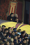 Stoke City 0 Valencia 1, 16/02/2012. Britannia Stadium, UEFA Europa League. Home supporters watching the second half action at the Britannia Stadium, Stoke-on-Trent, during the UEFA Europa League last 32 first leg between Stoke City and visitors Valencia. The match ended in a 1-0 victory from the visitors from Spain. Mehmet Topal scored the only goal in the first half in a match watched by a crowd of 24,185. Photo by Colin McPherson.