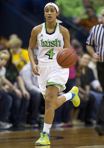 December 05, 2012:  Notre Dame guard Skylar Diggins (4) dribbles the ball during NCAA Women's Basketball game action between the Notre Dame Fighting Irish and the Baylor Bears at Purcell Pavilion at the Joyce Center in South Bend, Indiana.  Baylor defeated Notre Dame 73-61.