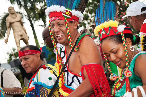 Amerindians from Suriname at the Smoke ceremony - Arima, Trinidad