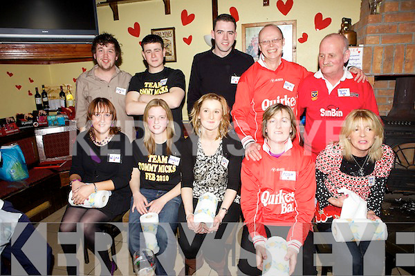 Participants in 'The Love Bug' challenge held last Saturday night to raise funds for Haiti and local charities in Tommy Micks Bar, Mountcollins. F l-r:  Mary Dillane, Maura Lyons, Lil Quirke, Jonie Osley, Mary Barry. B l-r: Christopher Lennihan, Mike Knight, Padraig Walsh, Bret Osley, Miney McCarthy.