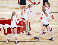 STANFORD, CA - November 4, 2018: Holly Campbell,Jenna Gray,Meghan McClure, Kate Formico at Maples Pavilion. No. 2 Stanford Cardinal defeated the Utah Utes 3-0.