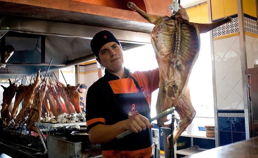 El Meson Principal restaurant which specialises in Cabrito or goat. Saltillo, Coahuila, Mexico. Aromas y Sabores with Chef Patricia Quintana