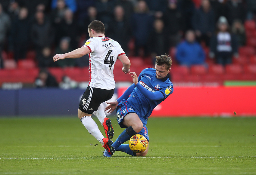 Bolton Wanderers Callum Connolly battles with  Sheffield United's John Fleck<br /> <br /> Photographer Mick Walker/CameraSport<br /> <br /> The EFL Sky Bet Championship - Sheffield United v Bolton Wanderers - Saturday 2nd February 2019 - Bramall Lane - Sheffield<br /> <br /> World Copyright © 2019 CameraSport. All rights reserved. 43 Linden Ave. Countesthorpe. Leicester. England. LE8 5PG - Tel: +44 (0) 116 277 4147 - admin@camerasport.com - www.camerasport.com