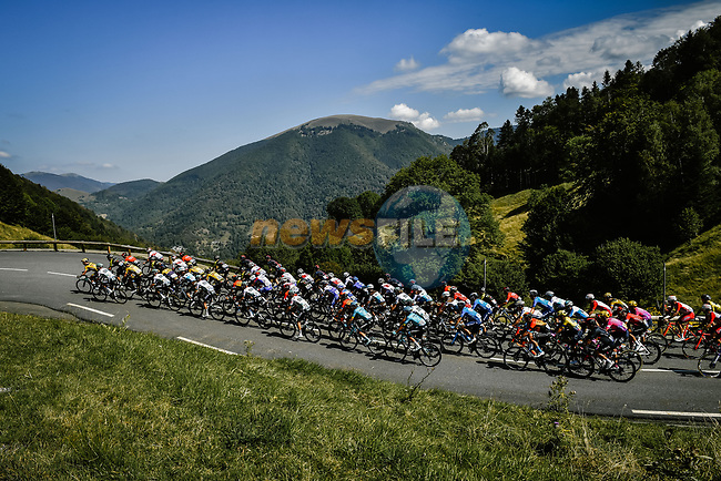 The peloton climb Port de Balès during Stage 8 of Tour de France 2020, running 141km from Cazeres-sur-Garonne to Loudenvielle, France. 5th September 2020. <br /> Picture: ASO/Pauline Ballet   Cyclefile<br /> All photos usage must carry mandatory copyright credit (© Cyclefile   ASO/Pauline Ballet)