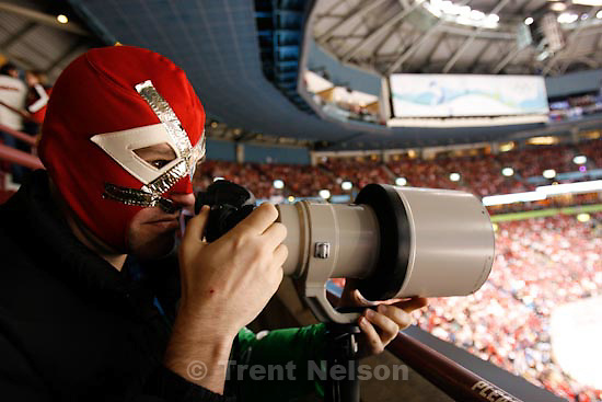 Trent Nelson  |  The Salt Lake Tribune.Canada defeats Team USA in the gold medal game, women's Ice Hockey at the Canada Hockey Place, Vancouver, XXI Olympic Winter Games, Thursday, February 25, 2010. sol neelman in luche libre mask