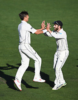 Trent Boult celebrates the wicket of Cook with Williamson.<br /> New Zealand Blackcaps v England. 1st day/night test match. Eden Park, Auckland, New Zealand. Day 4, Sunday 25 March 2018. &copy; Copyright Photo: Andrew Cornaga / www.Photosport.nz