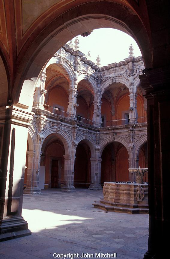 Courtyard of the Museo de Arte de Queretaro in the city of Queretaro, Mexico. The historic centre of Queretaro is a UNESCO World Heritage Site.