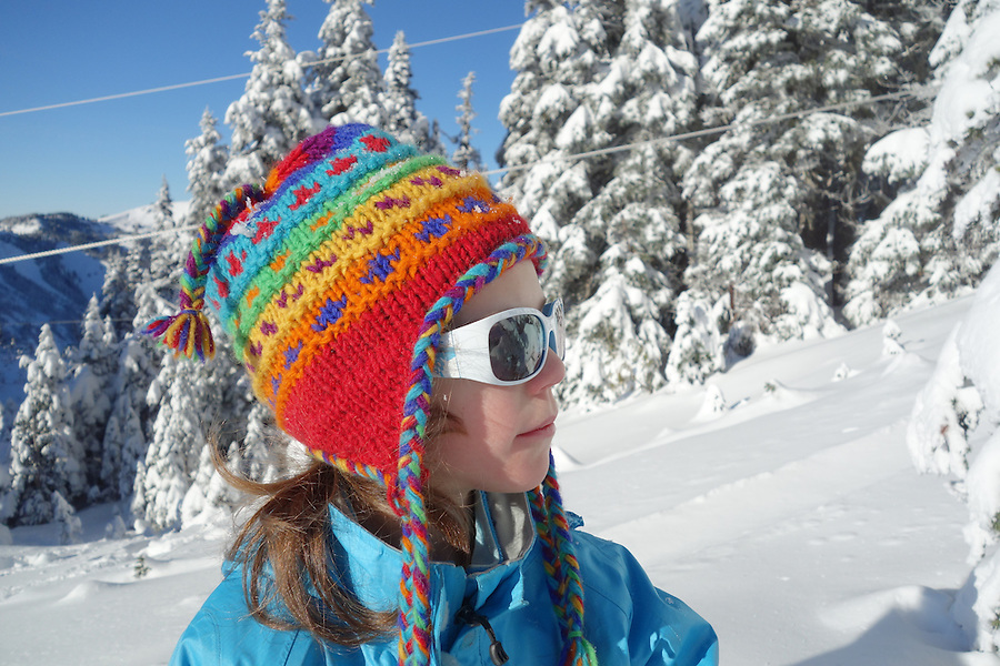 Girl in snowy mountains, Hurricane Ridge, Clallam County, Olympic National Park, Washington, USA