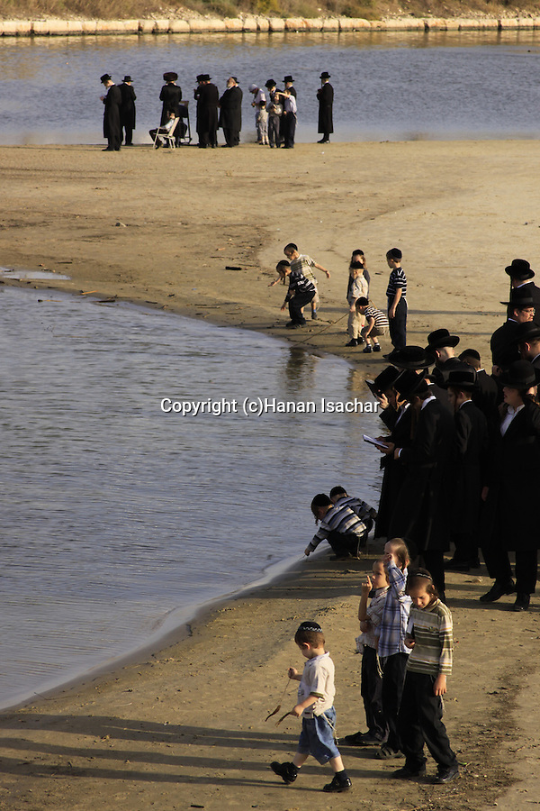 Israel, Tel Aviv, Tashlich prayer of the Premishlan congregation by the Yarkon River