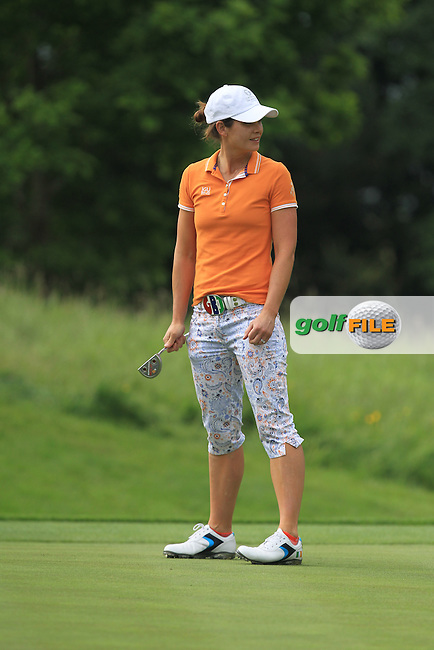 Maria Dunne on the 8th green during the Saturday Mourning Fourbsomes of the 2016 Curtis Cup at Dun Laoghaire Golf Club on Saturday 11th June 2016.<br /> Picture:  Golffile | Thos Caffrey