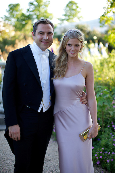 David Walliams and Lara Stone at Elton John's White Tie and Tiara Ball