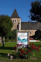 The church. Poster for crottin de chavignol goat cheese. Montigny village, Sancerre, Loire, France