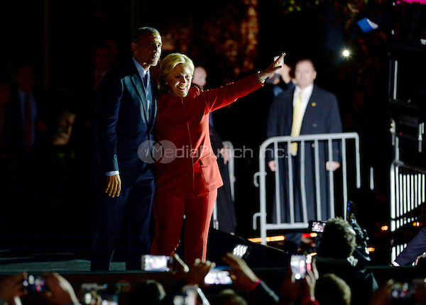 PHILADELPHIA, PA - NOVEMBER 7: Hillary Clinton and President Barack Obama at the GOTV Rally in support of Hillary Clinton for President at Independence Mall in Philadelphia, Pennsylvania on November 7, 2016. Credit: Dennis Van Tine/MediaPunch