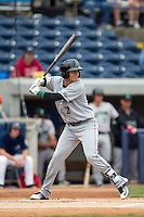 Dayton Dragons designated hitter Luis Gonzalez (2) at bat against the West Michigan Whitecaps on April 24, 2016 at Fifth Third Ballpark in Comstock, Michigan. Dayton defeated West Michigan 4-3. (Andrew Woolley/Four Seam Images)
