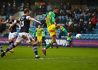9th February 2020; The Den, London, England; English Championship Football, Millwall versus West Bromwich Albion; Semi Ajayi of West Bromwich Albion with a lob shot on goal
