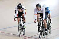 Corbin Strong (L) of Southland and Jackson Ogle of Waikato BOP compete in the Junior U19 Men Omnium 3, Elimination Race,  at the Age Group Track National Championships, Avantidrome, Home of Cycling, Cambridge, New Zealand, Sunday, March 19, 2017. Mandatory Credit: © Dianne Manson/CyclingNZ  **NO ARCHIVING**