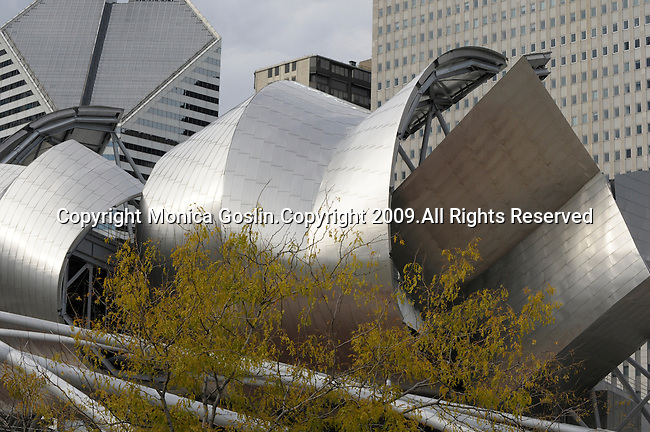 Millennium Park in downtown Chicago, IL with the music pavilion and pedestrain bridge designed by Frank Gehry.